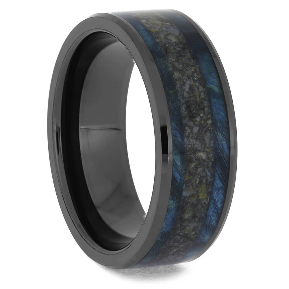 Black Ceramic Wedding Band with Dinosaur Bone and Blue Wood-4626 - Jewelry by Johan