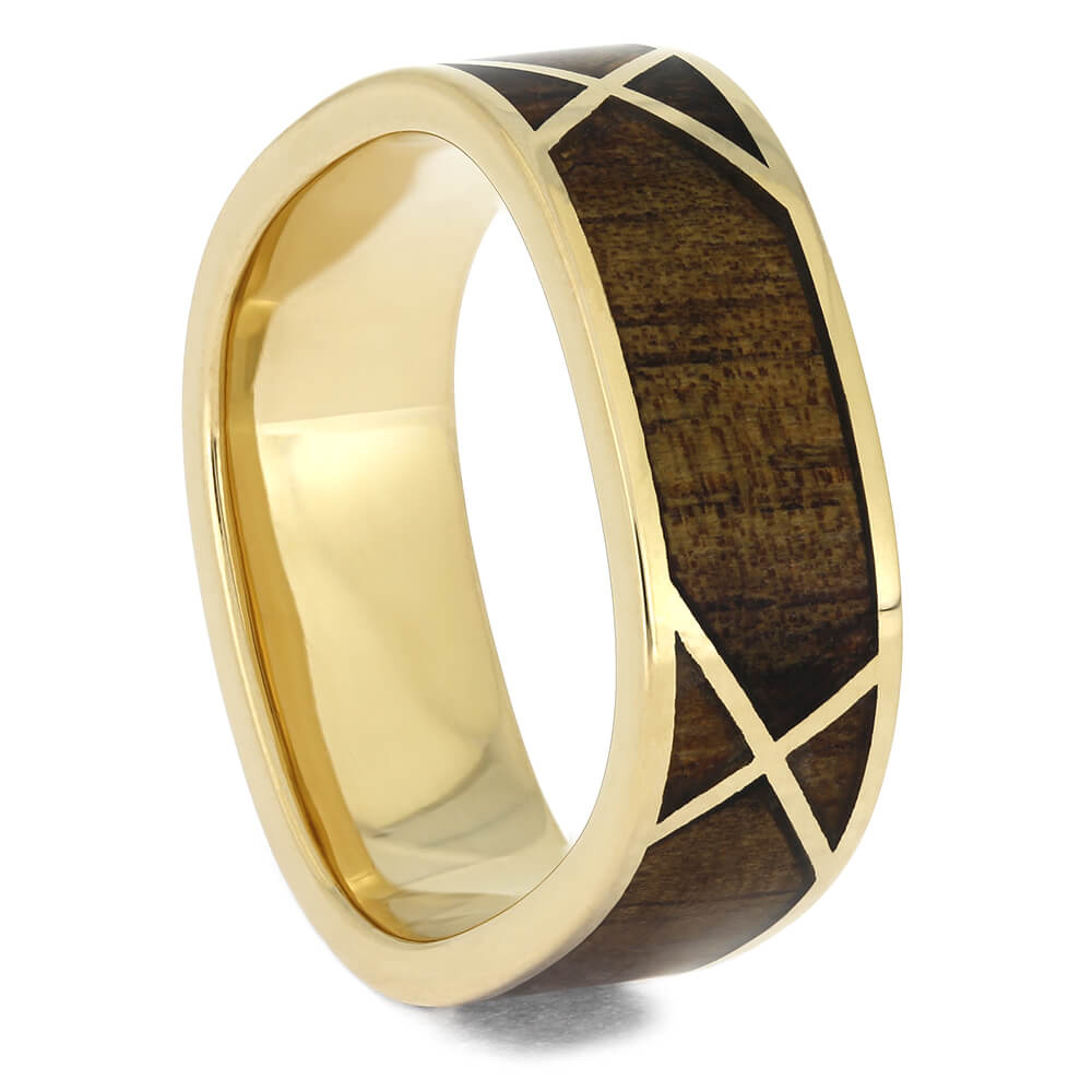 Square Ring with Koa Wood and Yellow Gold Woven Design, Size 8-RS11502 - Jewelry by Johan