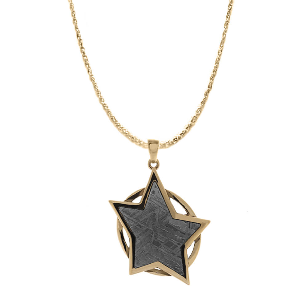 Space-Inspired Rose Gold Star Pendant with Meteorite-4630 - Jewelry by Johan