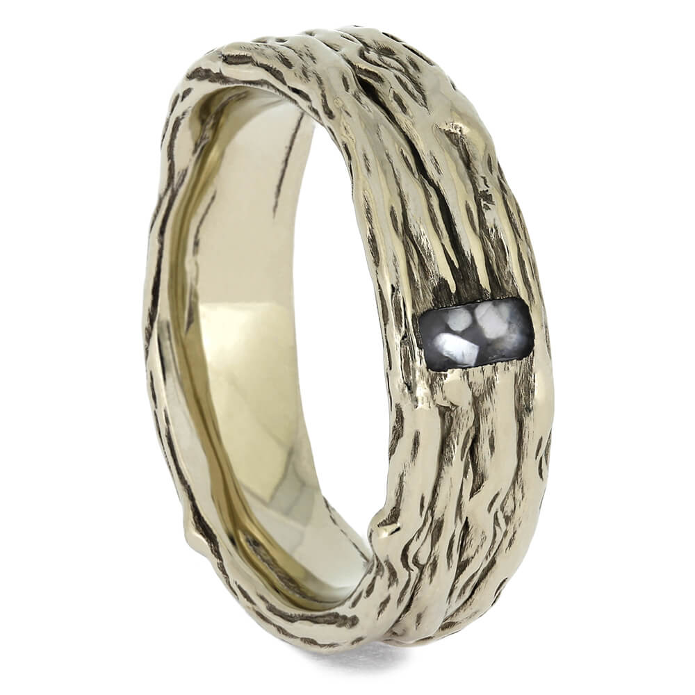 Branch Style White Gold Wedding Band with Mother of Pearl Inlay-4631 - Jewelry by Johan