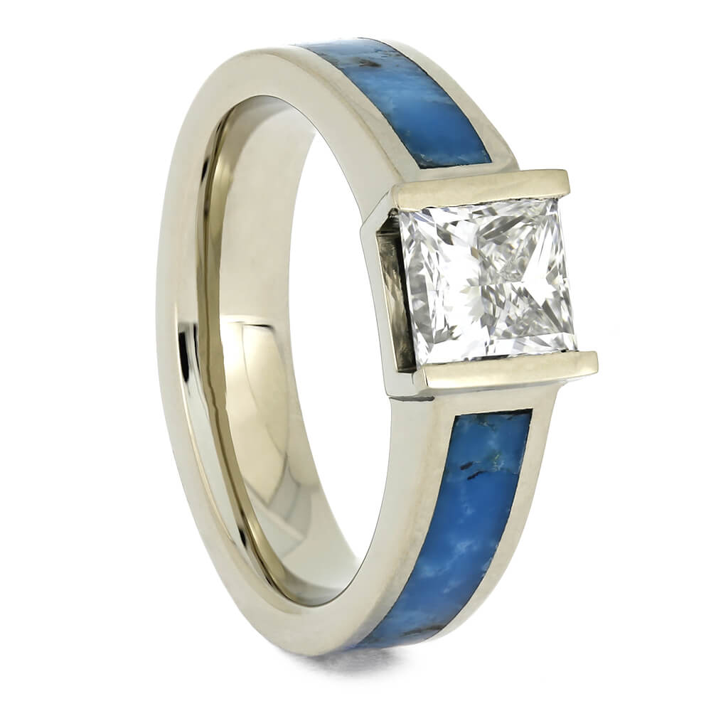 Turquoise Engagement Ring in White Gold with Solitaire Diamond-4636 - Jewelry by Johan