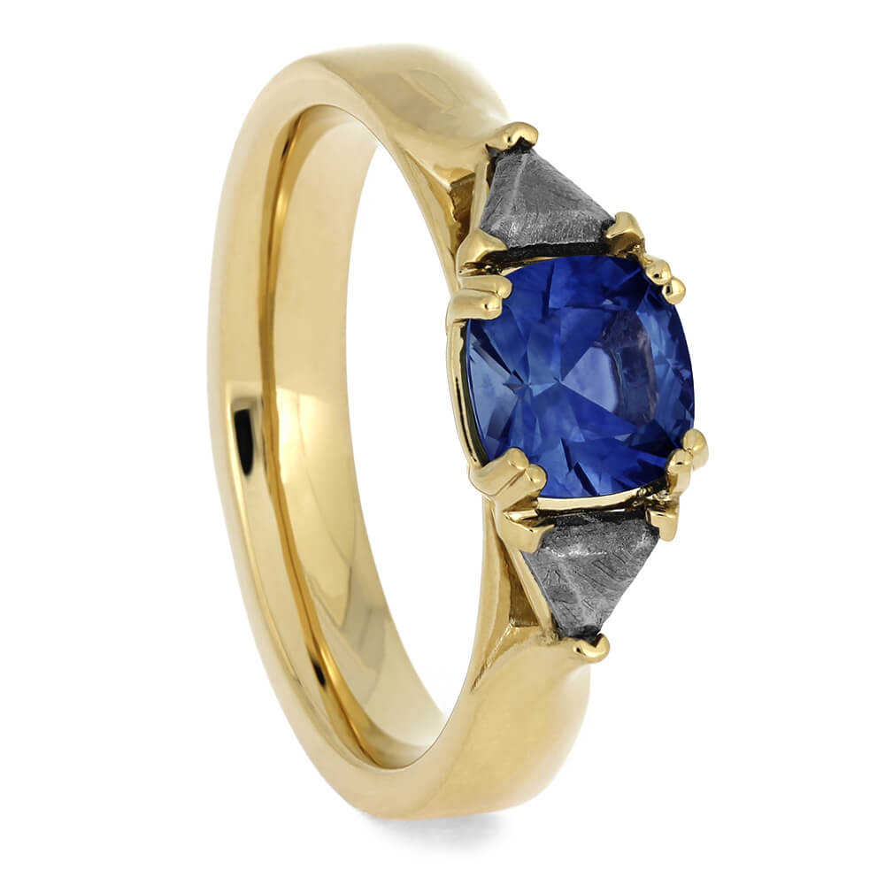 Three Stone Sapphire Engagement Ring with Meteorite Stones-4637 - Jewelry by Johan