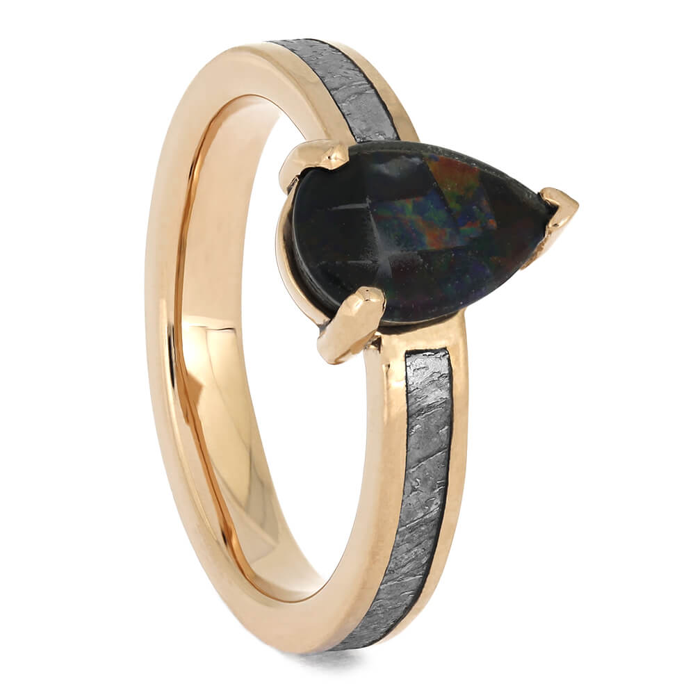 Meteorite Engagement Ring with Pear-Shaped Opal Set in Rose Gold-4638 - Jewelry by Johan