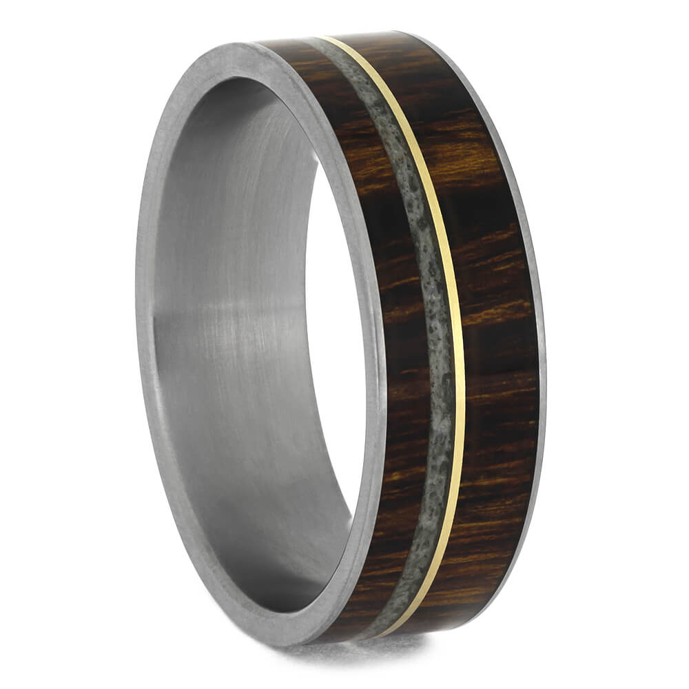 Deer Antler Wedding Band with Ironwood and Yellow Gold Pinstripe-4641 - Jewelry by Johan