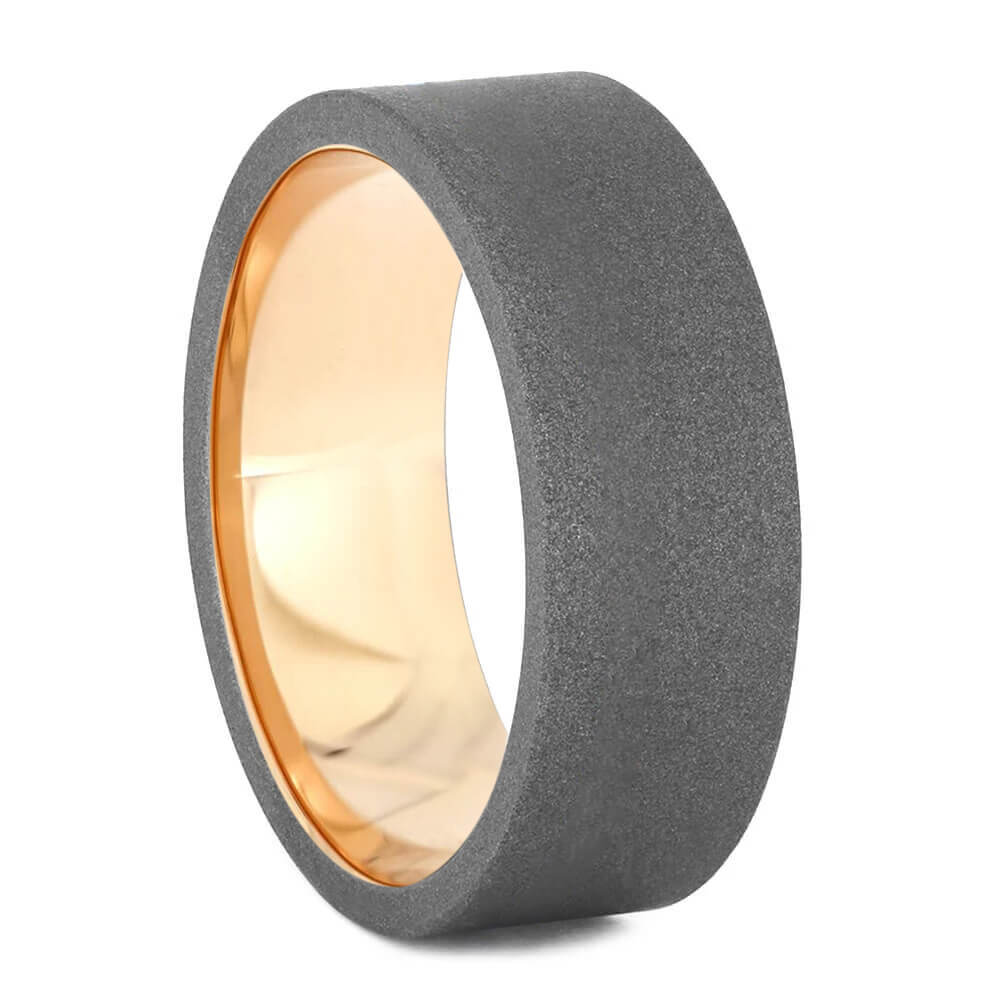Sandblasted Titanium Band with Rose Gold Sleeve-4641 - Jewelry by Johan