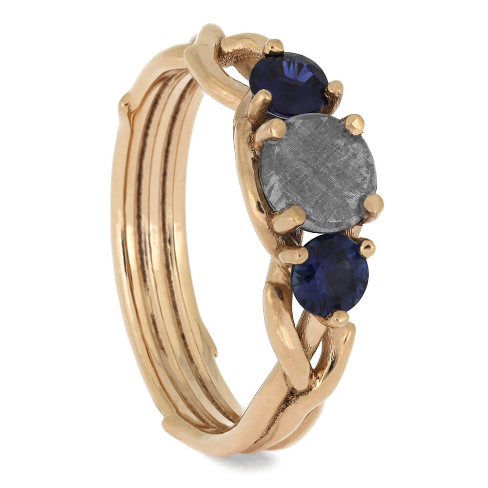 Three Stone Rose Gold Engagement Ring with Meteorite and Sapphire-4646 - Jewelry by Johan
