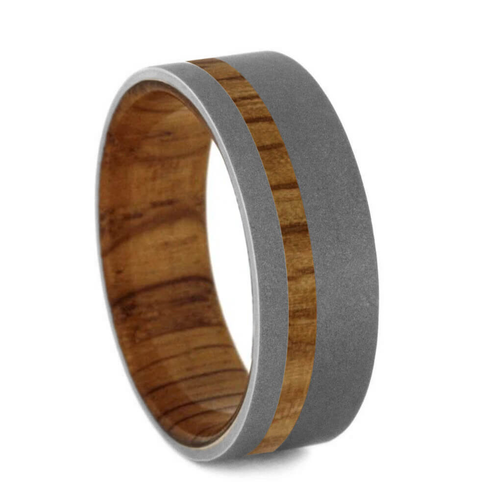 Oak Wood Ring With Sandblasted Titanium-4648 - Jewelry by Johan