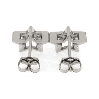 White Gold Push Back Earrings
