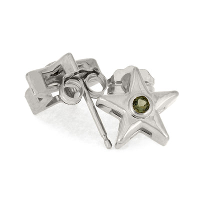 Star Stud Earrings with Moldavite