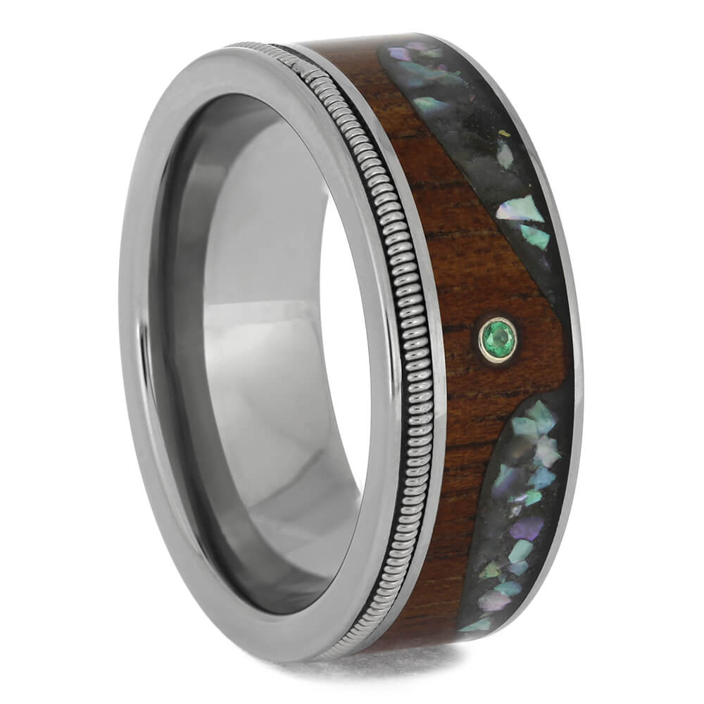 Guitar String Wedding Band with Abalone Wave Design and Emerald Stone-4653 - Jewelry by Johan