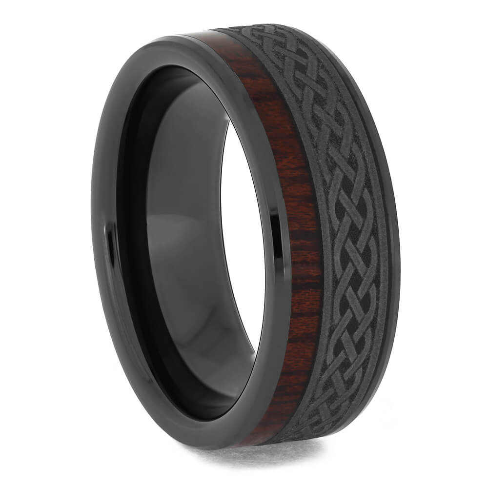 Black Ceramic Wedding Band with Celtic Pattern and Bloodwood-4654 - Jewelry by Johan