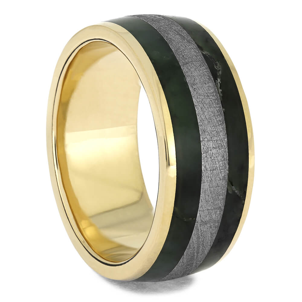 Yellow Gold Wedding Band with Meteorite and Jade-4655 - Jewelry by Johan