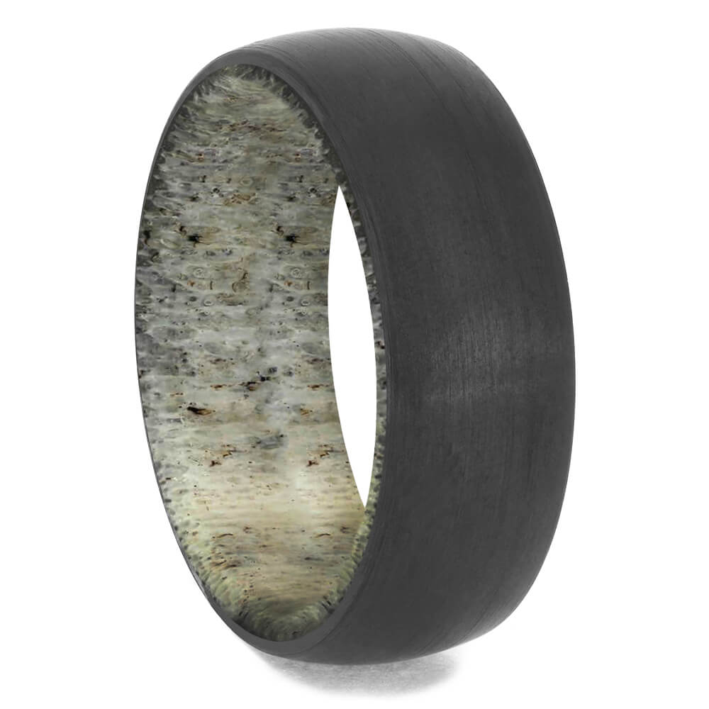 Men's Black Zirconium Wedding Band with Antler Sleeve-4658-AN - Jewelry by Johan