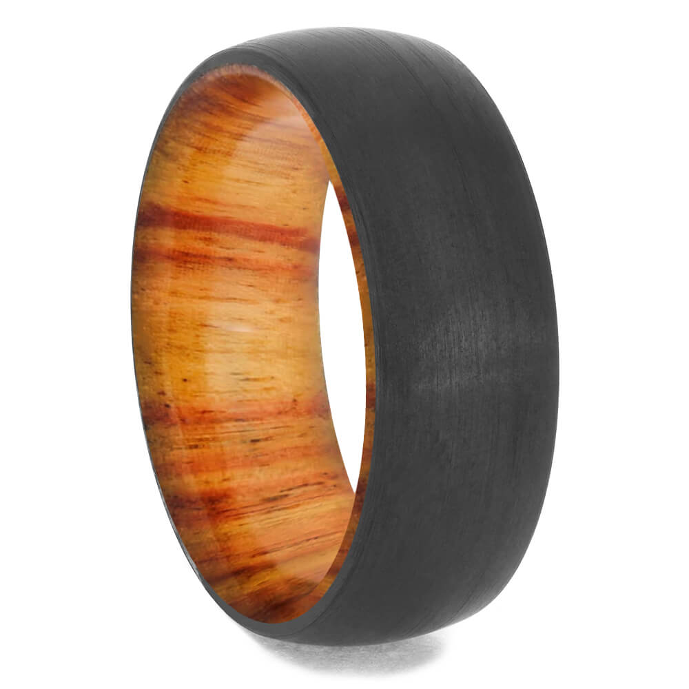 Black Zirconium Wedding Band with Tulipwood Sleeve-4658-WDX - Jewelry by Johan