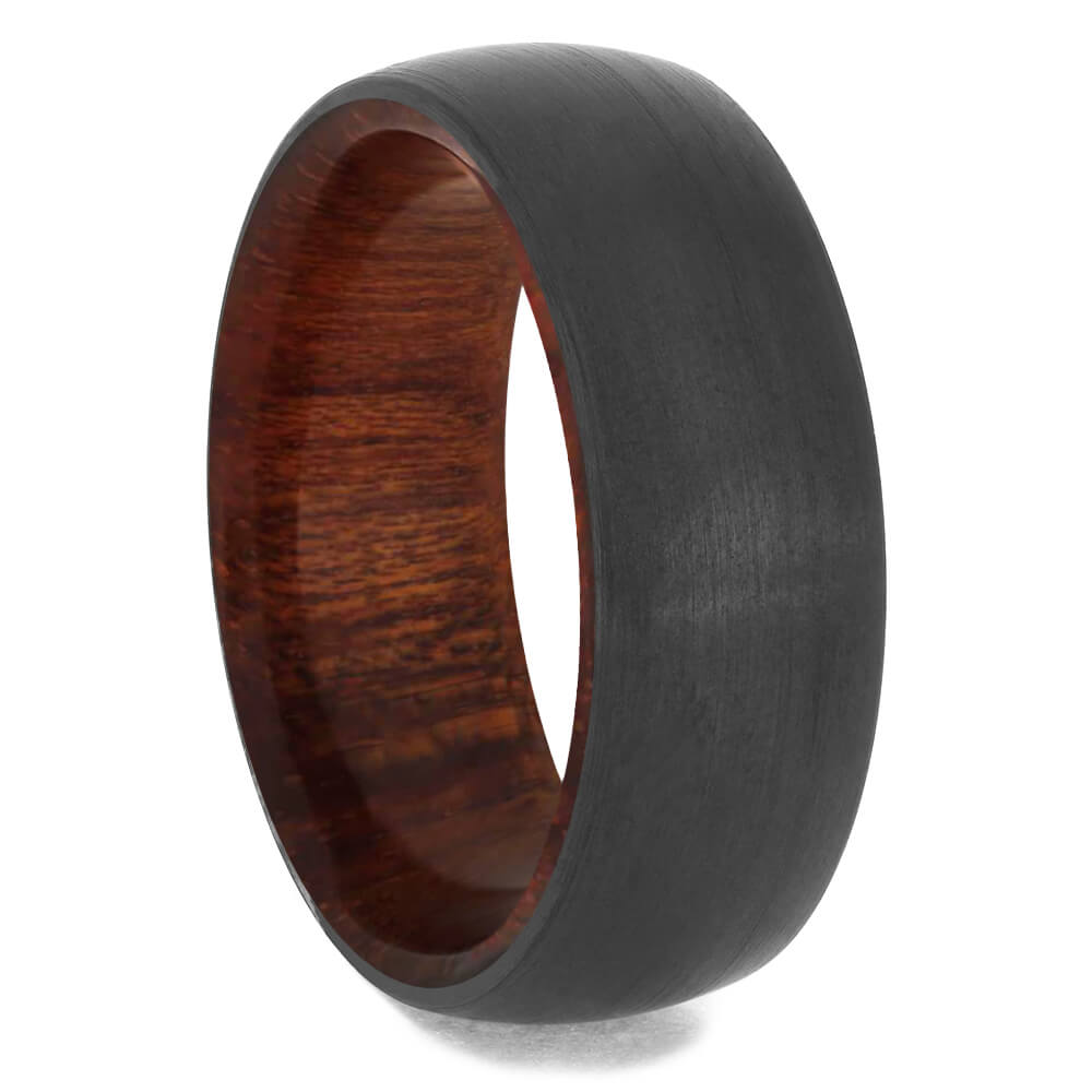 Round Black Zirconium Band with Bloodwood Sleeve-4658-WD - Jewelry by Johan