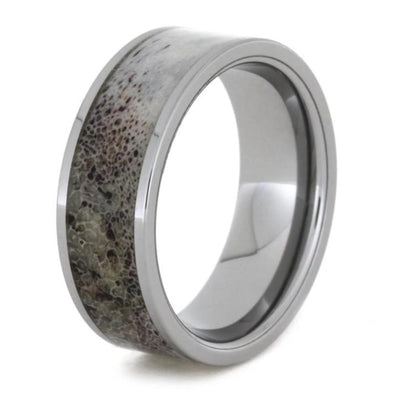 Simple Tungsten Men's Wedding Band With Deer Antler-1808 - Jewelry by Johan