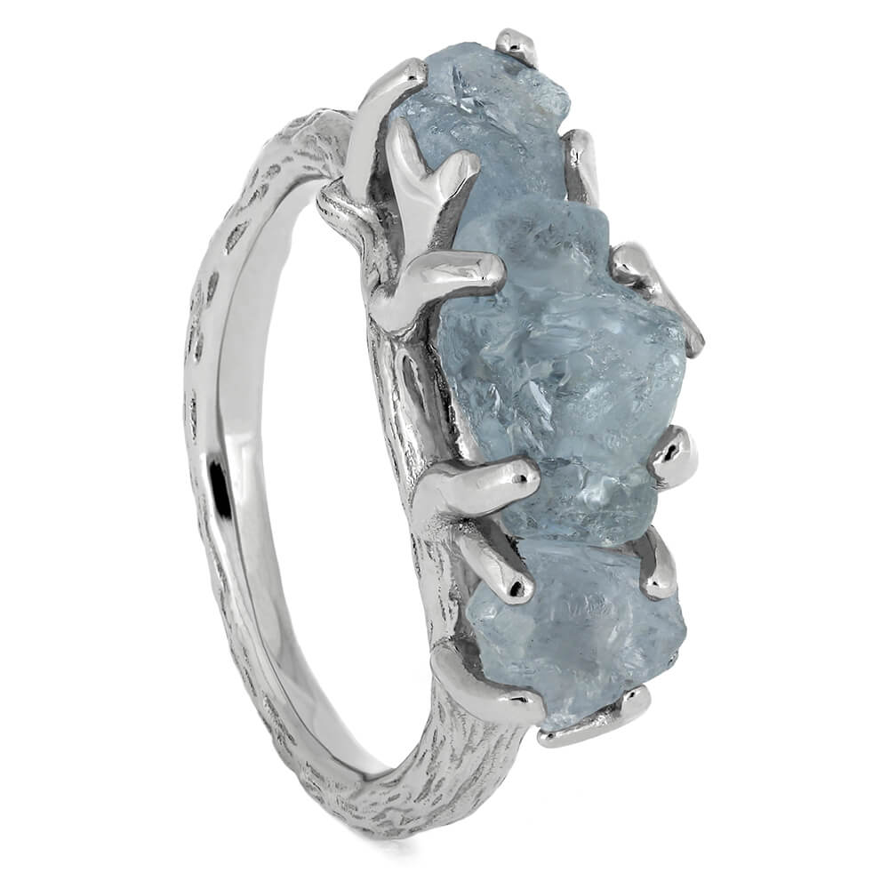 Three Stone Engagement Ring With Rough Aquamarines-4664 - Jewelry by Johan