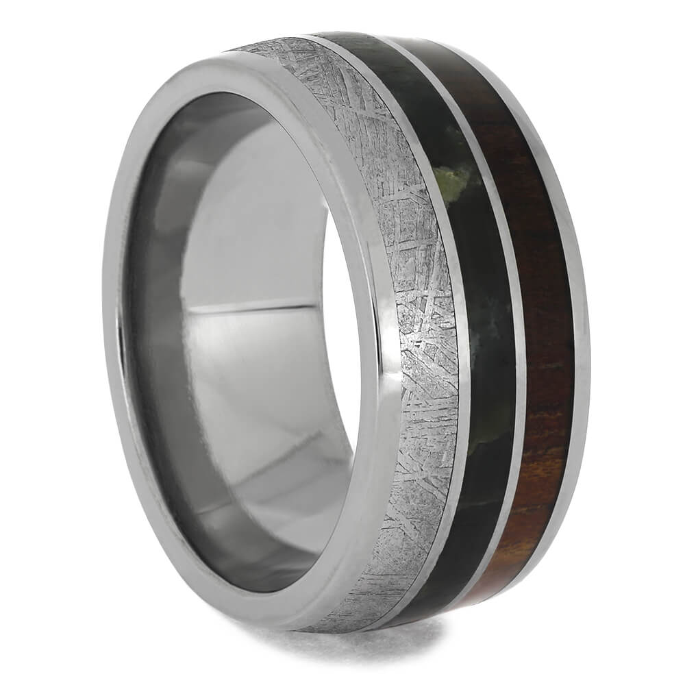 Men's Wide Meteorite Wedding Band with Jade and Koa Wood-4672 - Jewelry by Johan
