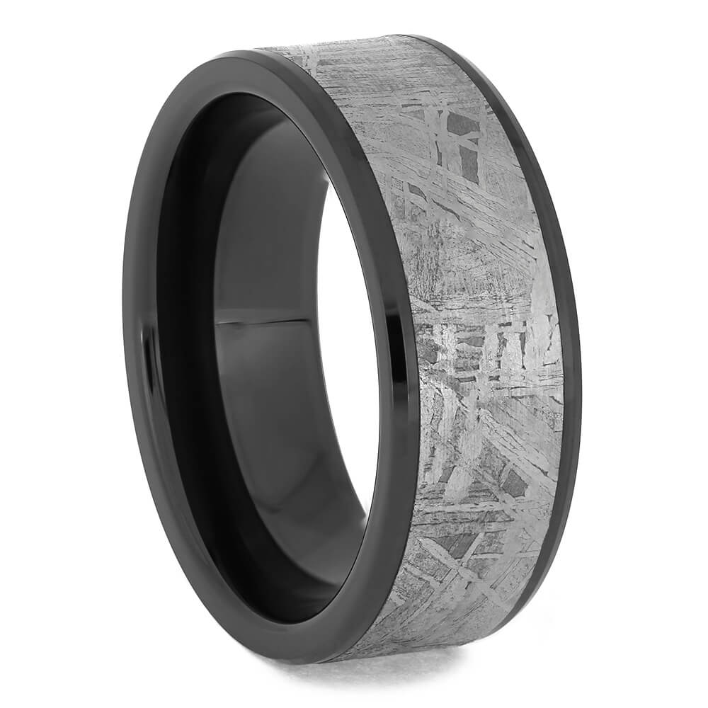 Black Ceramic Meteorite Ring With 1mm Beveled Edges-4676 - Jewelry by Johan