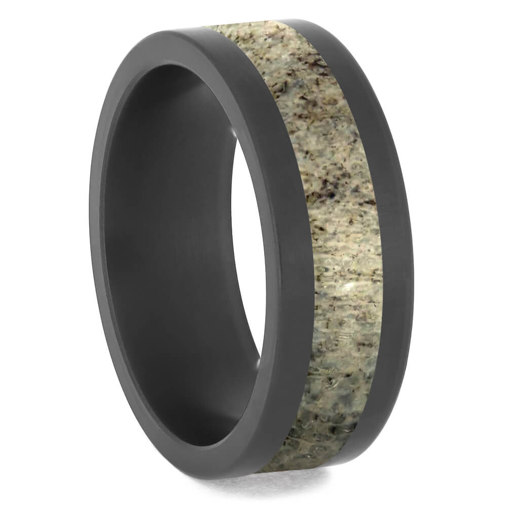 Flat Deer Antler Wedding Band with Black Zirconium Edges-4684-AN - Jewelry by Johan