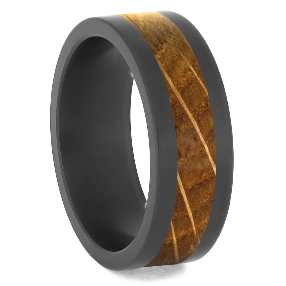 Black Zirconium Ring with Whiskey Barrel Oak Wood, Size 10-RS11559 - Jewelry by Johan