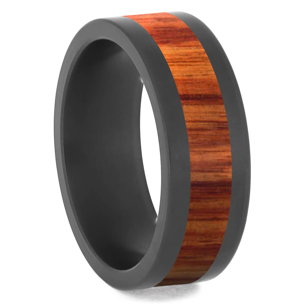 Tulipwood Wedding Band with Black Zirconium Edges-4684-WDX - Jewelry by Johan