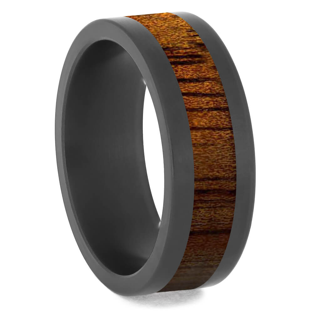 Flat Black Zirconium Band with Koa Wood Inlay-4684-WD - Jewelry by Johan