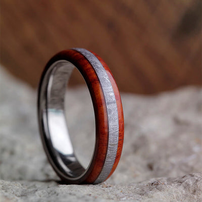 Colorful Meteorite Ring, Titanium Wedding Band With Tulipwood Overlay-2429