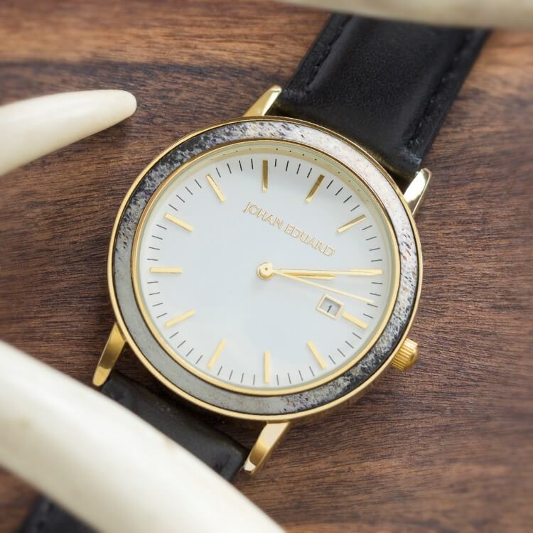 Deer Antler Watch, Golden Metal Watch With Black Leather Strap-JE1005-2