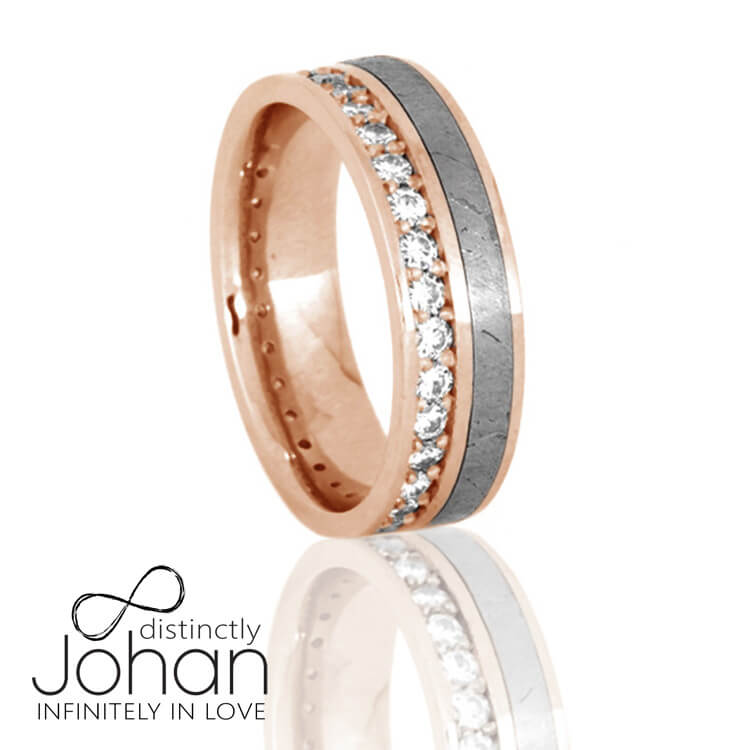 Gibeon Meteorite Eternity Ring, Diamond Unisex Wedding Band in Rose Gold