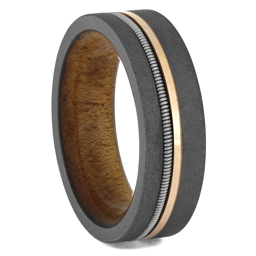 Guitar String Ring With Rose Gold Pinstripe-4702 - Jewelry by Johan