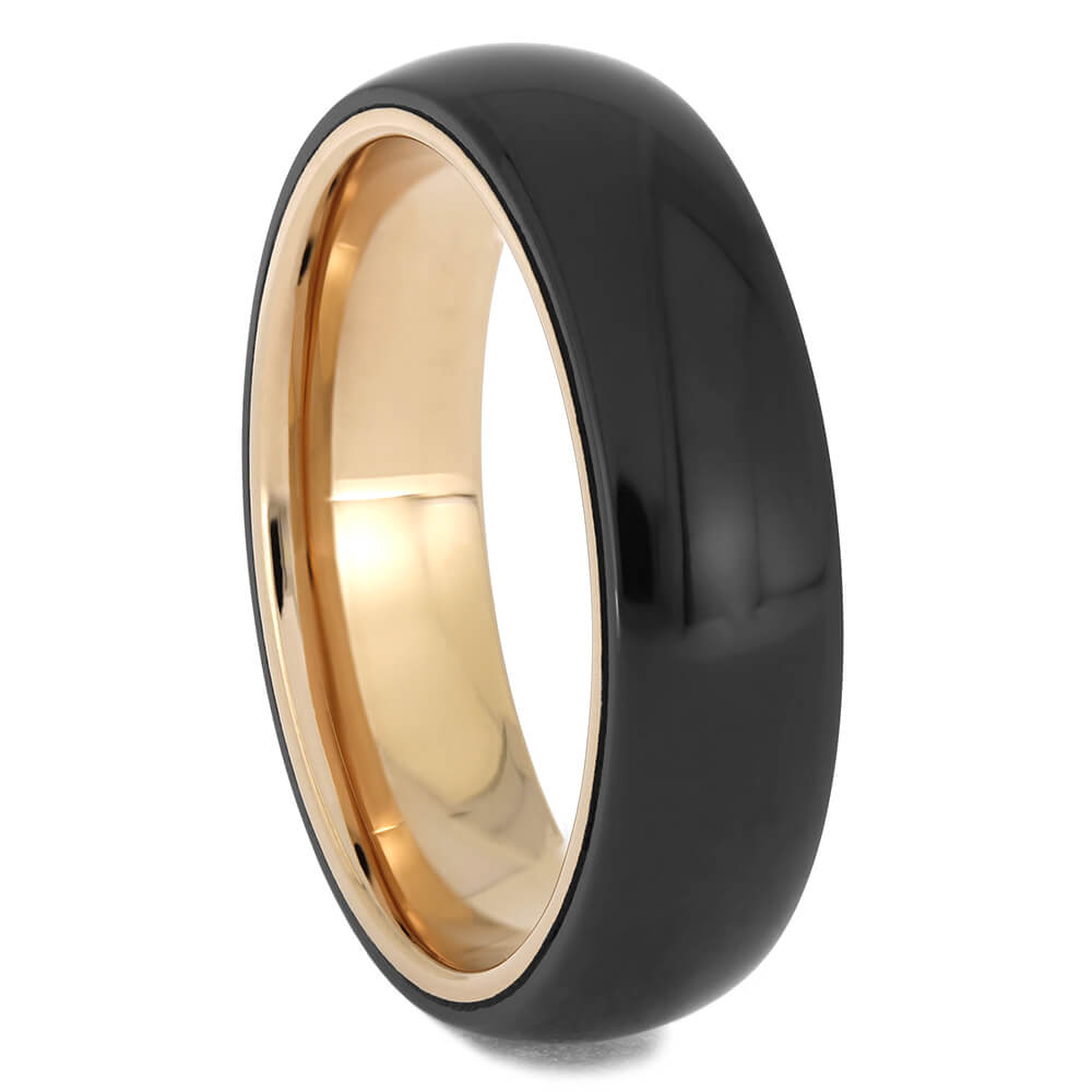 Black Zirconium Wedding Band with Rose Gold, Size 10-RS11553 - Jewelry by Johan