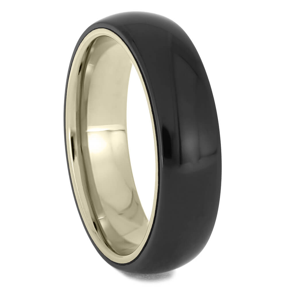 Black Zirconium and White Gold Wedding Band-4713-WG - Jewelry by Johan