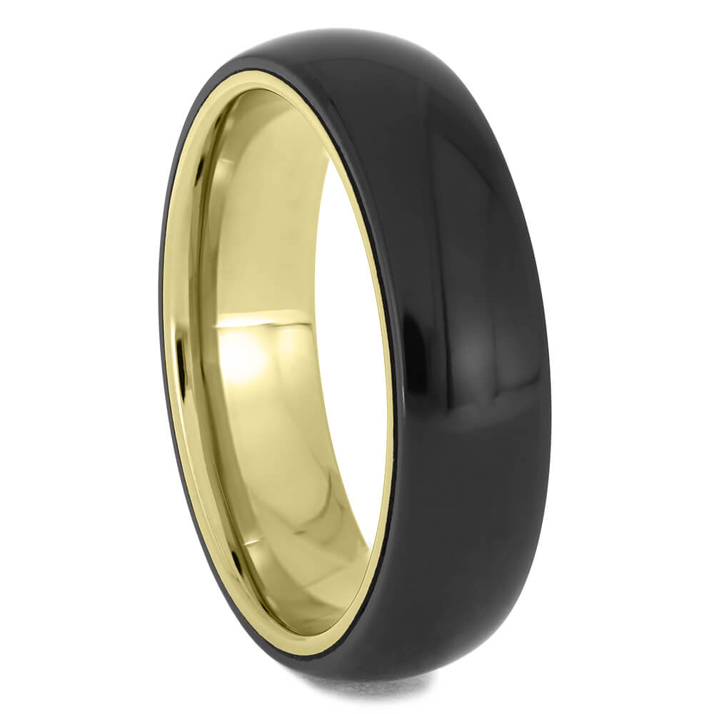 Black Zirconium Wedding Band with Yellow Gold Sleeve-4713-YG - Jewelry by Johan