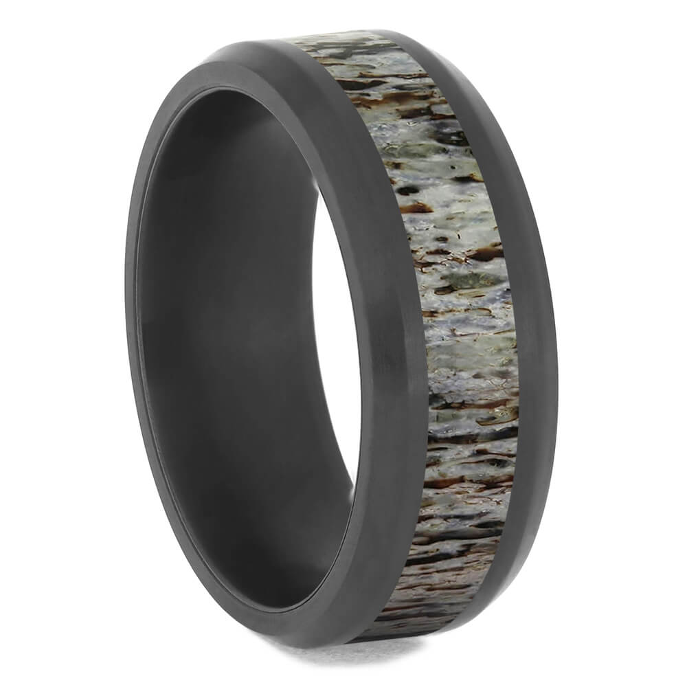 Black Zirconium Antler Wedding Band with Beveled Edges-4724-AN - Jewelry by Johan