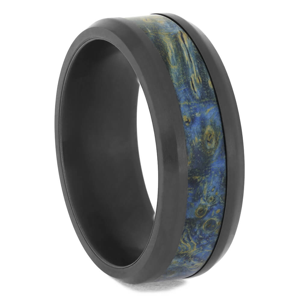 Beveled Black Zirconium Ring with Blue Box Elder Wood, Size 10-RS11561 - Jewelry by Johan