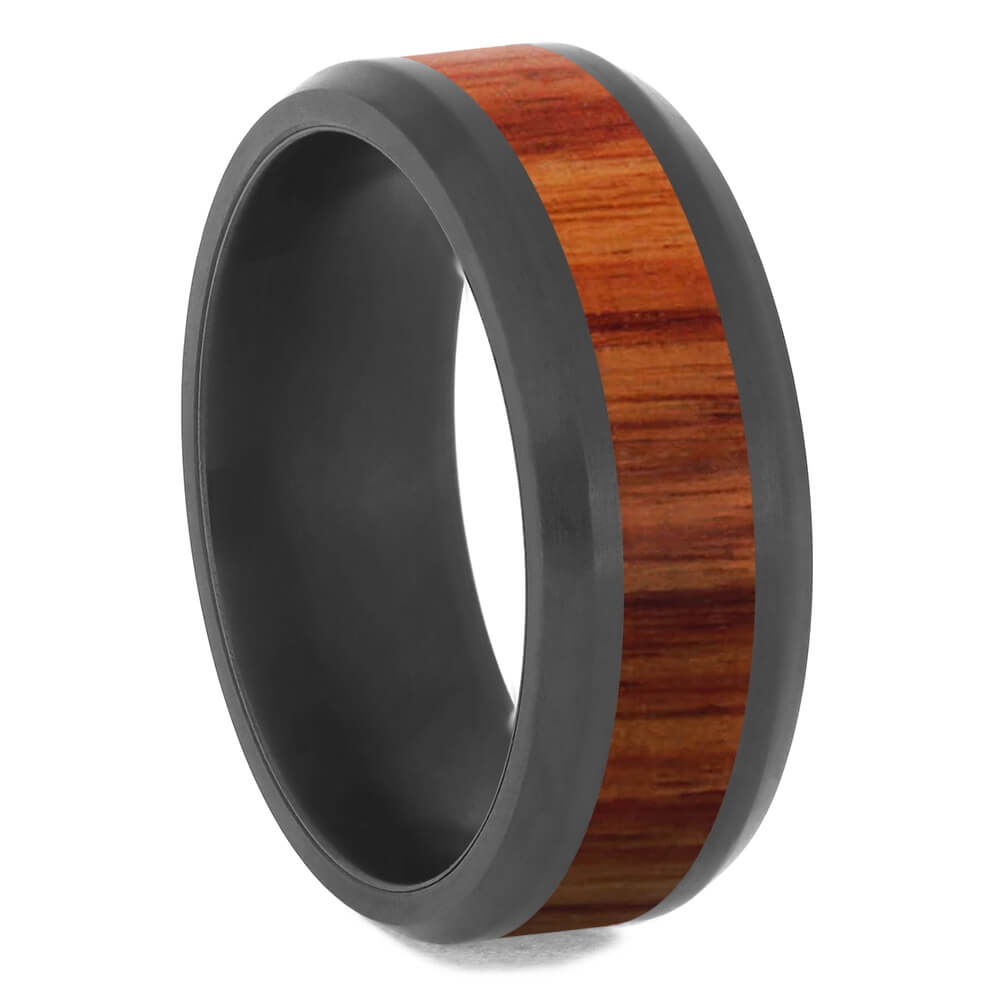 Black Zirconium Ring With Exotic Tulipwood Inlay-4724-WDX - Jewelry by Johan