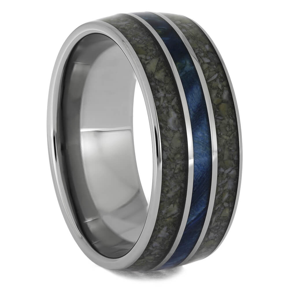 Crushed Dinosaur Bone Wedding Band