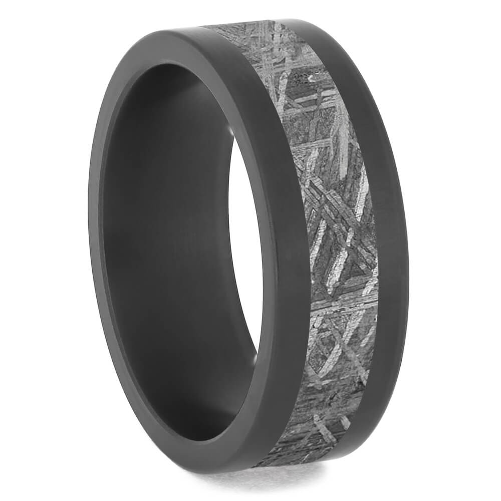 Meteorite & Black Zirconium Men's Wedding Band-4743 - Jewelry by Johan