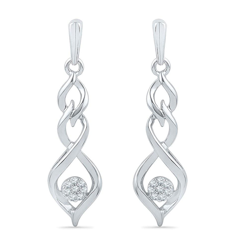 Tiered Dangle Earrings With Diamonds, Silver or Gold-SHEF016402BTW - Jewelry by Johan