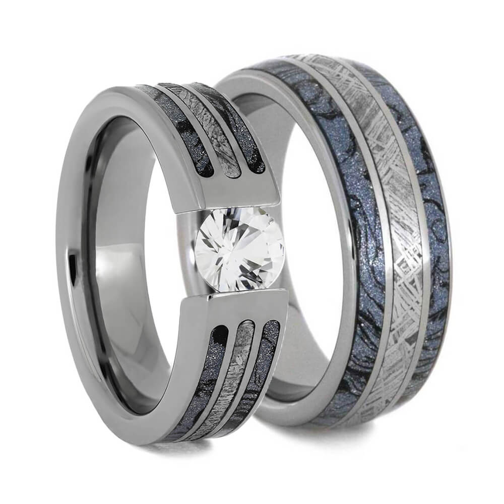 Blue Ring Set with Meteorite and Mokume Gane-4784 - Jewelry by Johan