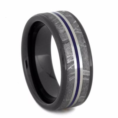 Meteorite Men's Wedding Band and Black Ceramic Ring