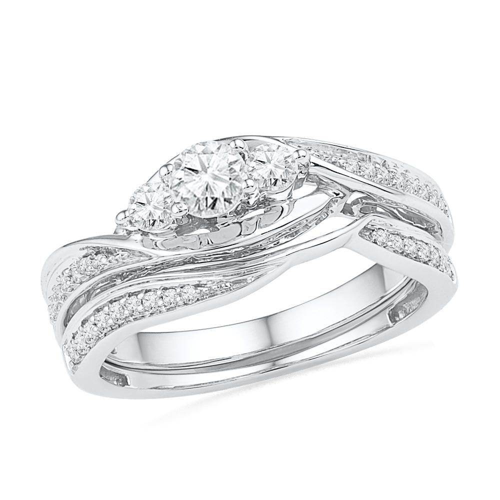Sterling Silver Three Stone Bridal Set-SHRB018754-SS - Jewelry by Johan