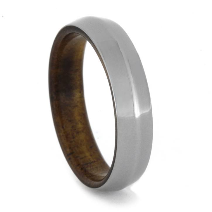Koa Wood Ring with Knife Edge Titanium Overlay-1940 - Jewelry by Johan
