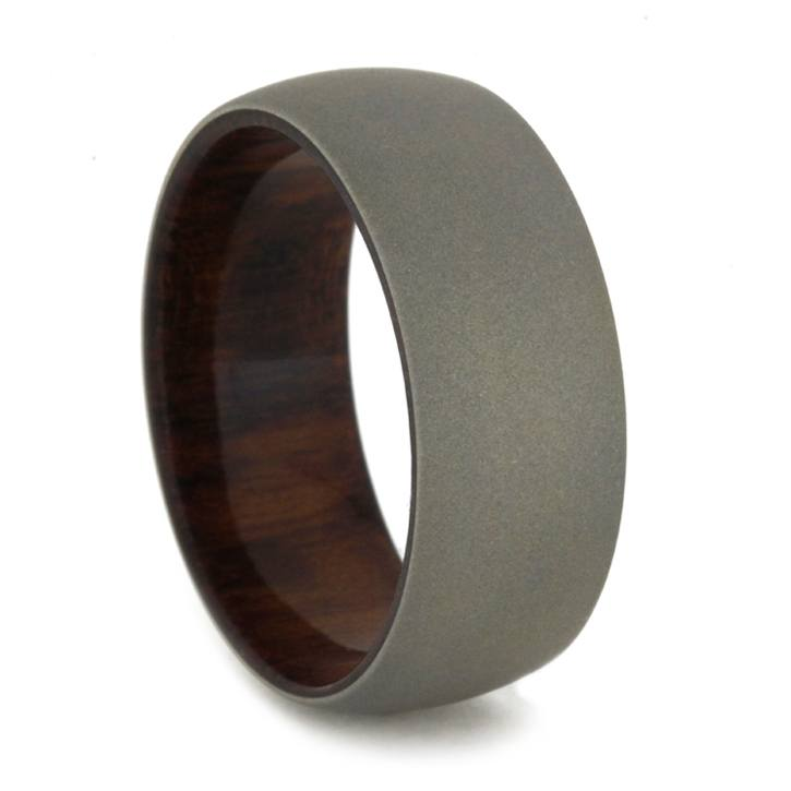 Sandblasted White Gold Wedding Band with Snakewood Sleeve-1851 - Jewelry by Johan