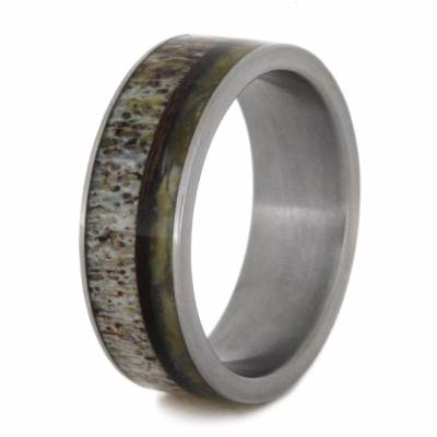 Titanium Ring With Natural Shed Deer Antler And Wishbone-2174 - Jewelry by Johan