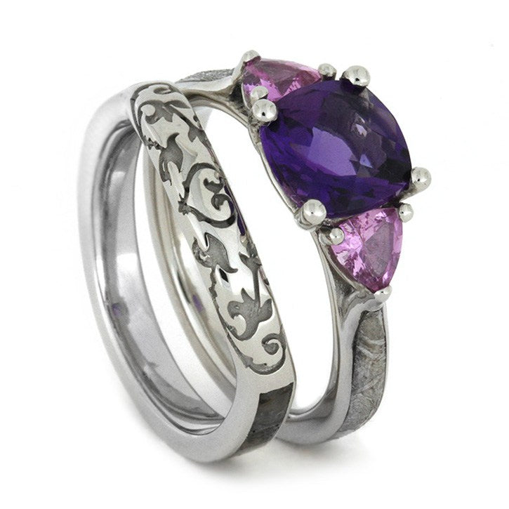 10k White Gold Wedding Ring Set with Amethyst, Pink Sapphire, Meteorite-1691 - Jewelry by Johan