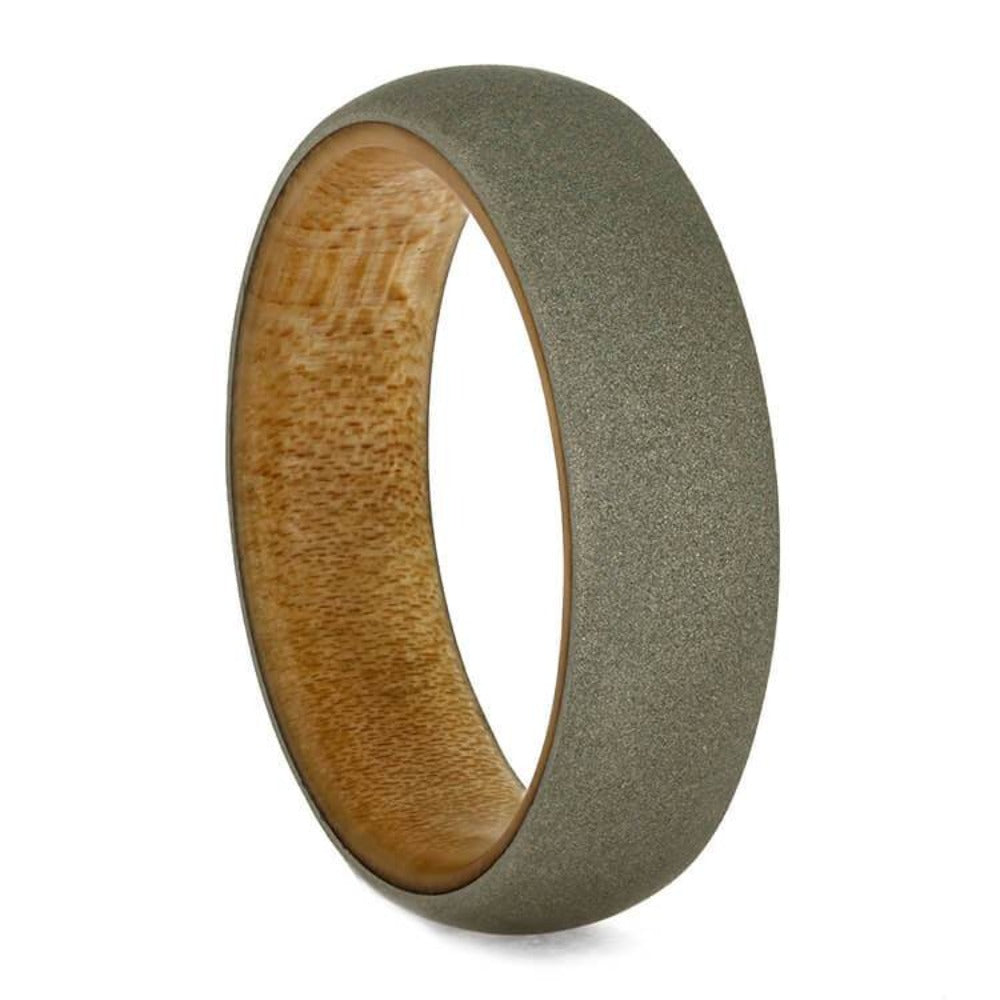 Sandblasted White Gold Ring, Wedding Band With Bamboo Wood Sleeve-3716 - Jewelry by Johan