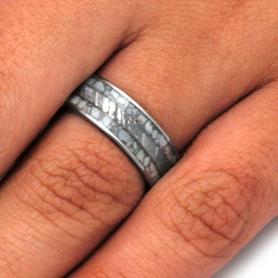 Antler Men's Wedding Band With Meteorite In Titanium-3208 - Jewelry by Johan