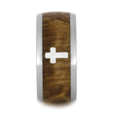 Faith Jewelry, Sterling Silver Cross Ring with Black Ash Burl-2024 - Jewelry by Johan